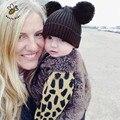 Dupla Bola De Malha Tampas de Bebê Das Meninas Dos Meninos Da Criança Crochet Gorro Hairball Chapéu Orelha Do Bebê Bonito Crianças Tampas