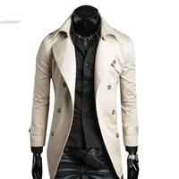 2013 Men S Stylish Double Breasted Jacket Long Trench Coat Windbreak Free Shipping 22