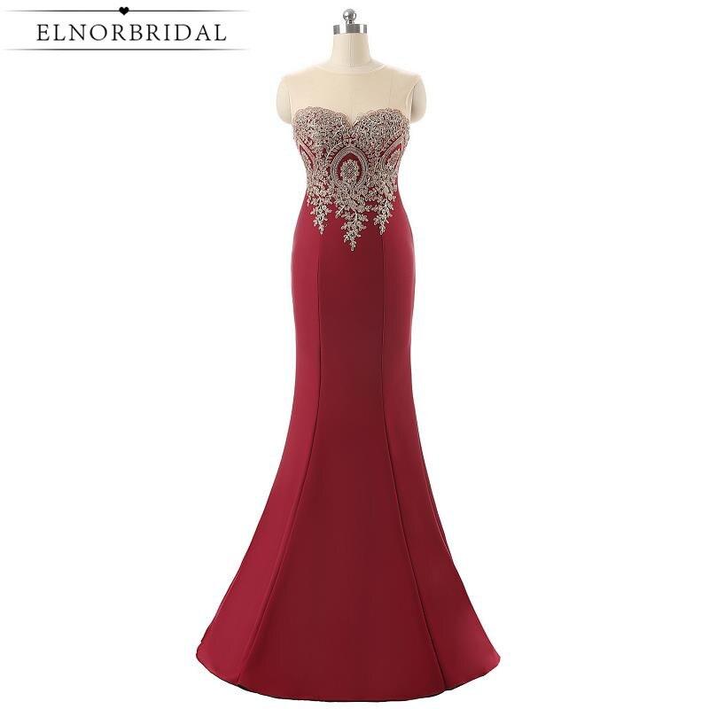 2019 New Burgundy Prom Dresses Sjöjungfru Illusion Tillbaka Sheer Formal Kvinnor Aftonklänning Långa Festklänningar Robe De Soiree Longue