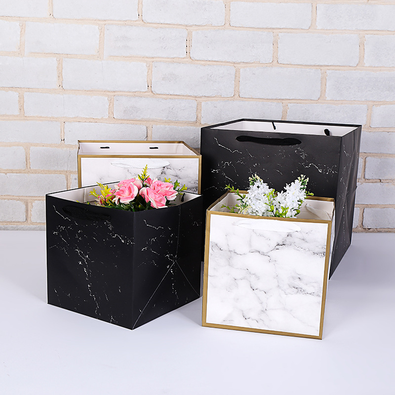 4Pcs Flower Box optional Square Kraft Paper Gift Bags Holiday Jewelry Bags Wedding Birthday Party Gift Office Supplies