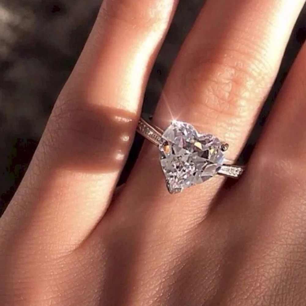หญิงหรูหรา AAA เงา Zircon แหวน Micro Zircon วงกลมคลาสสิกหมั้นงานแต่งงานแหวนของขวัญเครื่องประดับสำหรับผู้หญิง