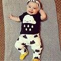 2016 Moda Roupa Do Bebê Set Meninos Meninas Set Traje T-shirt + calças 2 pcs Criança Se Adapte Às Crianças Conjuntos de Verão Bebê Recém-nascido roupas
