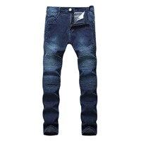 Hi Street Mens Ripped Rider Biker Jeans Motorcycle Slim Fit Washed Black Grey Blue Denim Pants