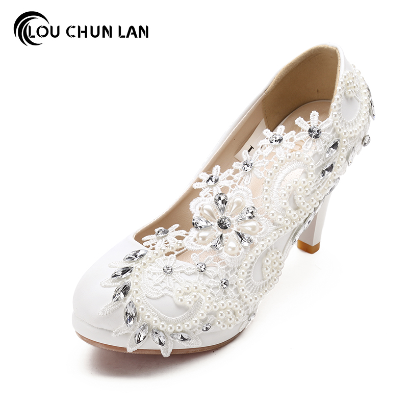 все цены на Shoes Women's Shoes Pumps High Heels Lace Flower Bride Wedding Shoes Wedding Formal Dress Single with Female Free Shipping Party