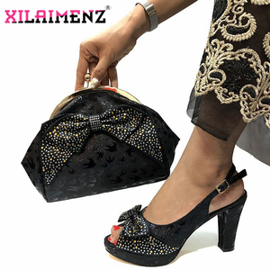 Image 3 - Special Design African Shoes With Matching Bags Set African Womens Party Shoes and Bag Sets Peach Color Women Sandals And Bag
