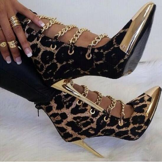 New Fashion Women Gold Metal Pointed Toe Stiletto Heel Leopard Gladiator Boots Cut-out Chain Design High Heel Ankle Booties fashion women s sandals with metal and stiletto heel design