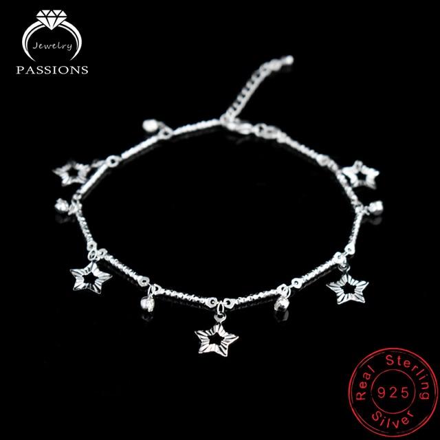 26189331479e Cómo moda pie tobillo 925 placa de plata señoras pie Tobilleras pulsera  cadena estrella colgante pie pulseras joyería para las mujeres regalo