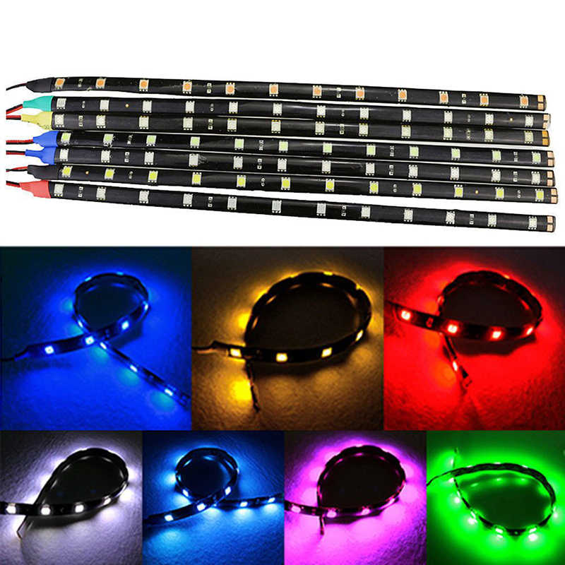 1 pièces 30 cm 3528 LED étanche Bande Lumières Flexibles DC12V SMD 3528 Vacances Lampada lumière LED Ruban Lampe