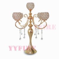 10PCS/lot Luxury Gold Color 5 Arm Tuilp Candelabra Hollow Iron Artistic Retro Candle Holder Wedding Props Road leads