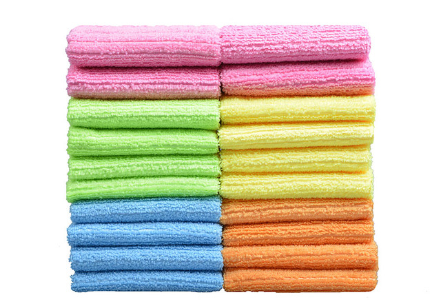 Microfiber Kitchen Towels Strips Dish Cloth Home Cleaning Cloths Orted Color 20pcs 30cmx30cm