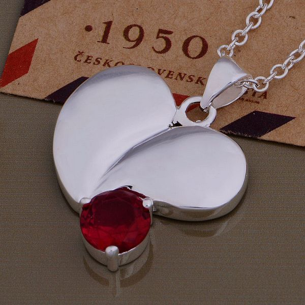 AN836  stearling silver color Necklace  fashion jewelry pendant red stone inlaid heart /bvoakmva bgkajxra