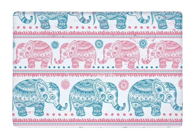 Floor Mat Aztec Vintage Elephant Print Non slip Rugs Carpets ...