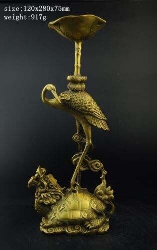 Grue de longévité en laiton de la chine sur le piquet de bâton de bougie de Statue de tortue de Dragon