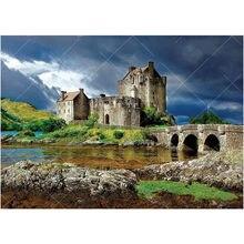 Eilean donan castelo escócia 5d diy pintura diamante paisagem 3d bordado ponto cruz strass mosaico arte decoração da sua casa fg795