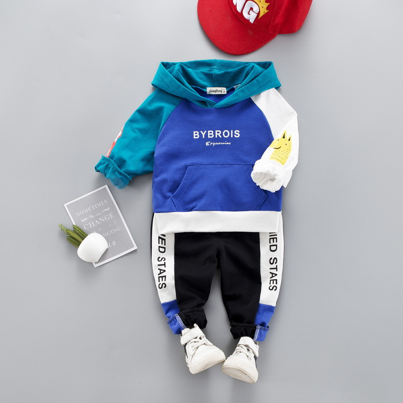 0-4 years High quality boy girl clothing set 19 new spring active patchwork kid suit children baby clothing Hoodies+pant 2pcs 2