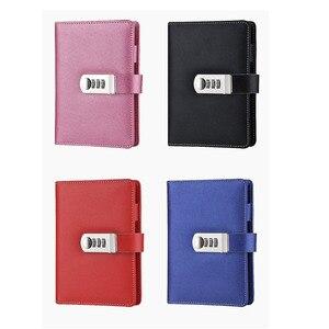 Image 5 - Novo caderno de couro com código de bloqueio diário pessoal negócio grosso bloco de notas espiral personalizado material escolar escritório presente