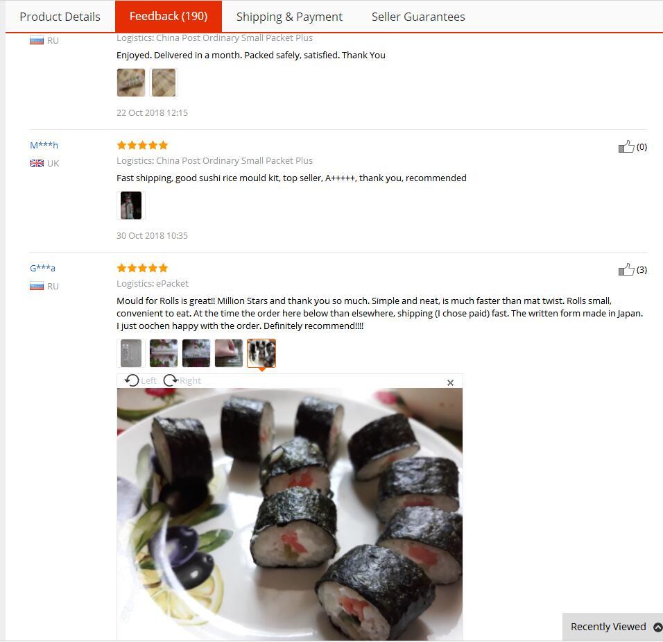 3pcs//set Laver Rice Roll Sushi Mold Kimbap Maker Bento Kitchen Baking Tools L/&6