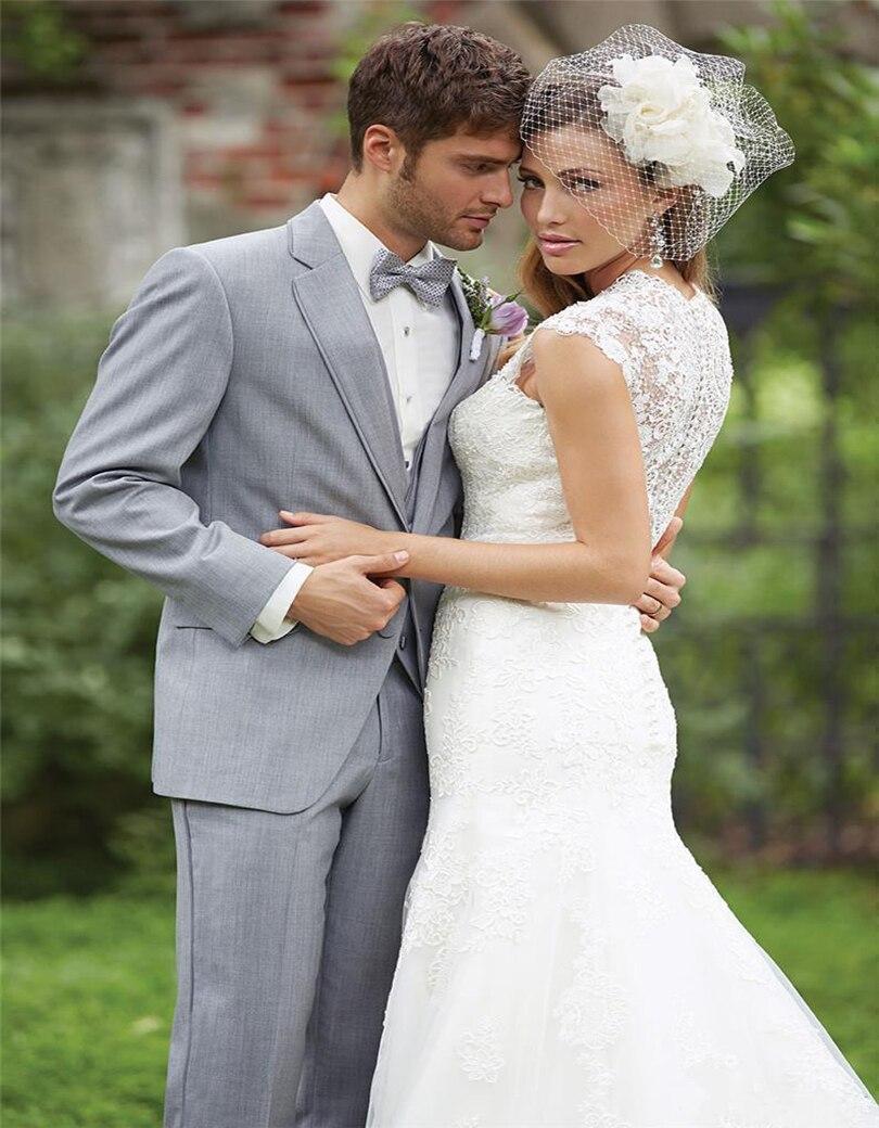 Latest Coat Pant Designs Light Grey Men Suit Wedding Suits For Men Slim Fit Style Groom Blazer Custom Terno 3 Piece Tuxedo Terno