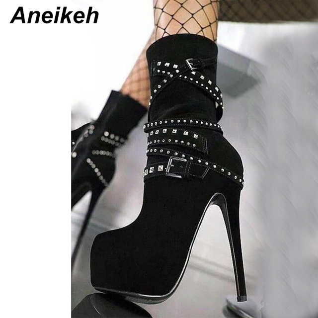 Rock Metal Super Motorcycle 17aneikeh Ankle Us47 Rivet Women Gothic Heels Chains Punk Biker In Rhinestone Shoes High Platform Boots KJFc3Tl1