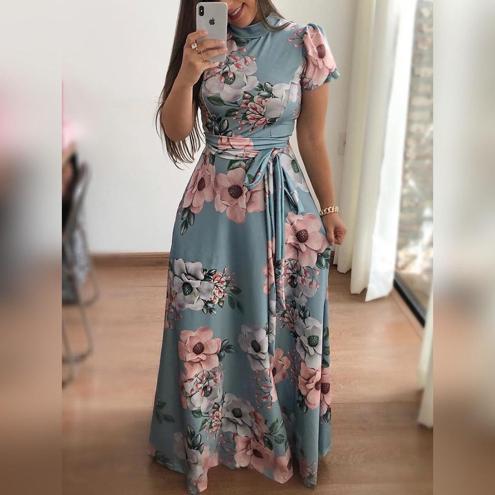 2018 Autumn New Casual Dress Women Short Sleeve Printed Dresses O Neck Bandage Belt Maxi Dress Vestidos Female Irregular Robe