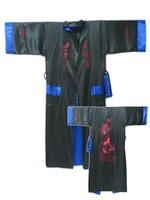 Blue Black Reversible Two face Men's Satin Embroider Robe Kimono Gown Sleepwear with Dragon