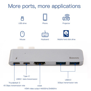 Image 5 - Baseus USB Type C HUB C To HDMI RJ45 Ethernet Multi USB 3.0 Thunderbolt 3 Power Adapter For MacBook Pro Air USB C Dock Splitter