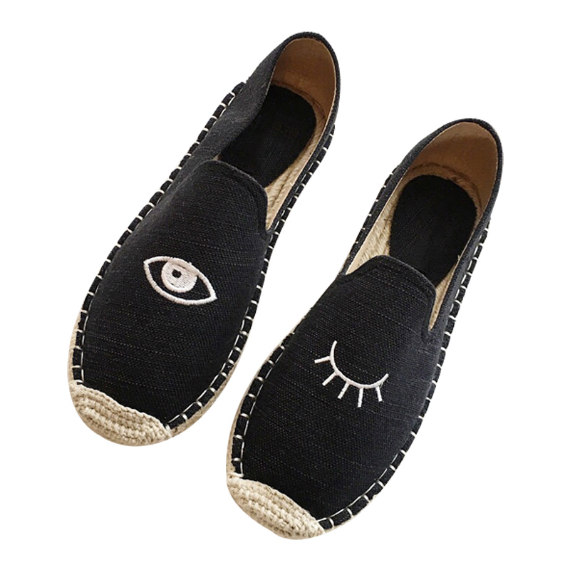 Detail Feedback Questions about Women Canvas Eyes Embroidery Espadrilles  Hemp Insole Flats Embroidered Slipony Loafers Shoes on Aliexpress.com  ab1e11e2c9b2