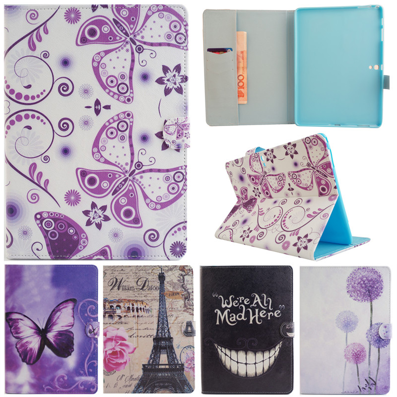 Cute Cartoon Colorful Butterfly Tower Stand Flip Leather Funda Case For Samsung Galaxy Tab S 10.5 T800 T805C Tablet Cover Coque luxury flip stand case for samsung galaxy tab 3 10 1 p5200 p5210 p5220 tablet 10 1 inch pu leather protective cover for tab3