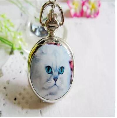 New Fashion Silver Elegant Lovely Cat With Mirror Case Quartz Pocket Watch Analog Pendant Necklace Mens Womens Gifts 10pcs/lot