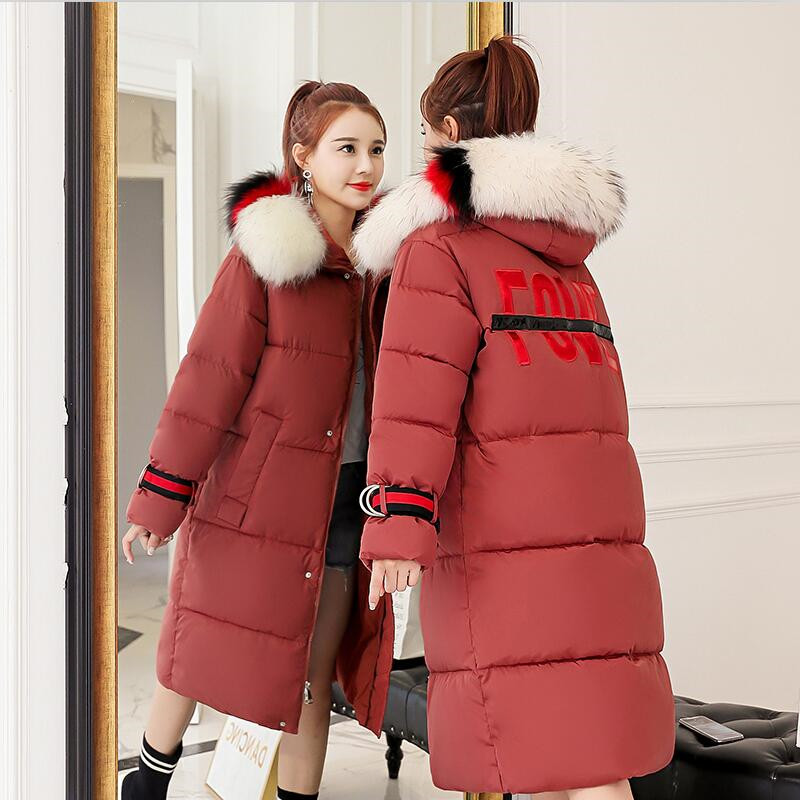 2019 Women Winter Quality Long   Parka   Jackets Fur Collar Hooded Thicken Warm Coat Outwear Female Print Plus Size Coat M-3XL