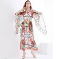 High quality 2018 new fashion pattern print loose dress bat sleeves individually lined casual holiday women's clothes
