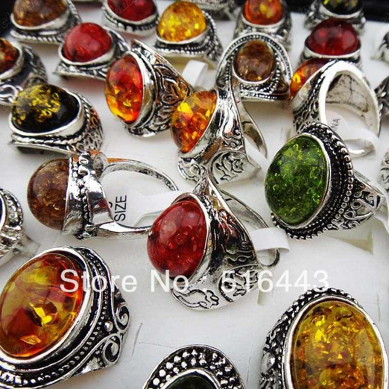 Charms 5pcs Mix large Vintage Amber Antique Silver Retro Womens Mens Rings Wholesale Jewelry Lots Free Shipping  A-914