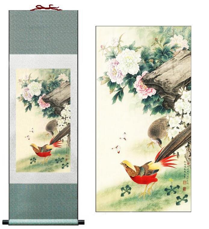 Pintura de pájaros y flores pintura de arte chino tradicional de gran calidad decoración de la Oficina del hogar pintura china