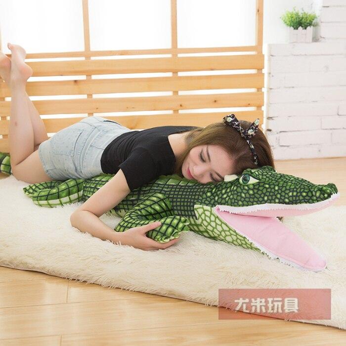 Gros dessin animé crocodile en peluche doux oreiller cadeau environ 160 0011