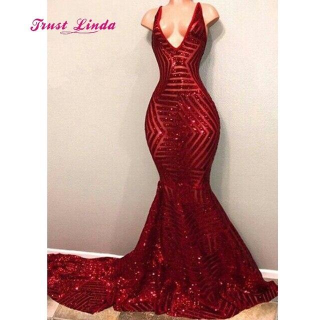 55d13a83c6ba Gorgeous Burgundy Sequin Evening Dress V Neck Floor Length Chapel Train  Mermaid Prom Dresses Long Formal Dress