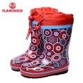 Flamingo marca 2017 nova coleção primavera-outono moda botas de borracha com lã de qualidade anti-slip calçados infantis para meninas 71-hl-0012