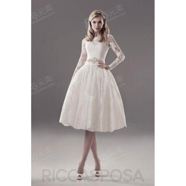 Knee Length Short Wedding Dress Mini Skirt Full Sleeves Zipper Sexy