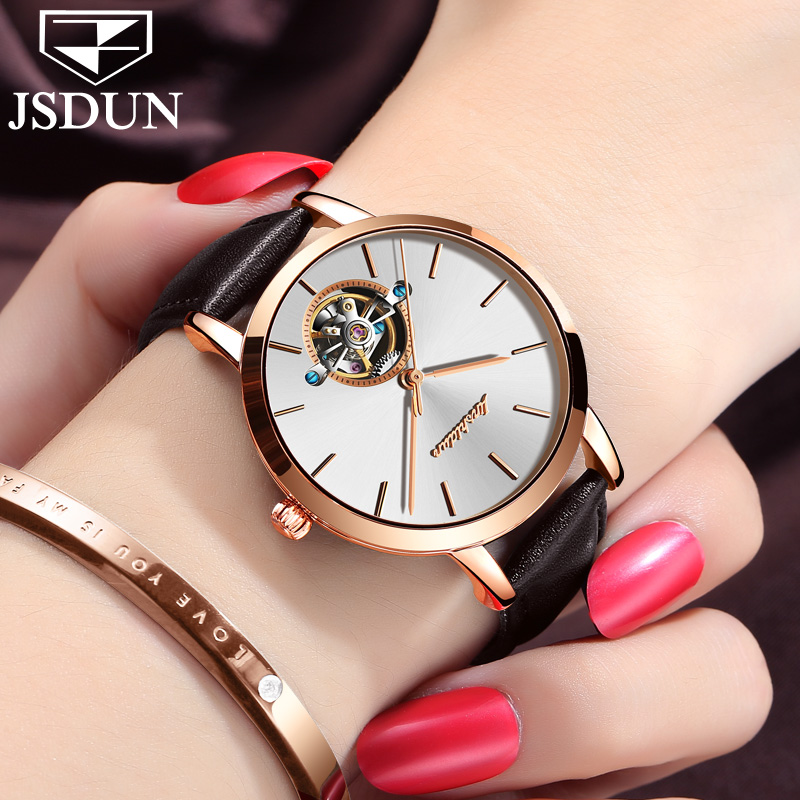 Genuine JSDUN Women Automatic Mechanical self wind sapphire watch fashion female form Leather belt Fashion Waterproof JL8812 NEW