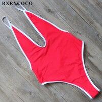 RXRXCOCO Seksi Bir Adet Mayo Kadınlar Katı Bikini Halter Bandaj Mayo Ayarlanabilir Yüzme Suit Derin V Boyun Mayo