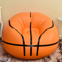 Dropshipping! Basketball Inflatable Sofa Flocking Plush Lazy Beanbag Folding Portable Chair for Kids Adults Harmless to Healthy