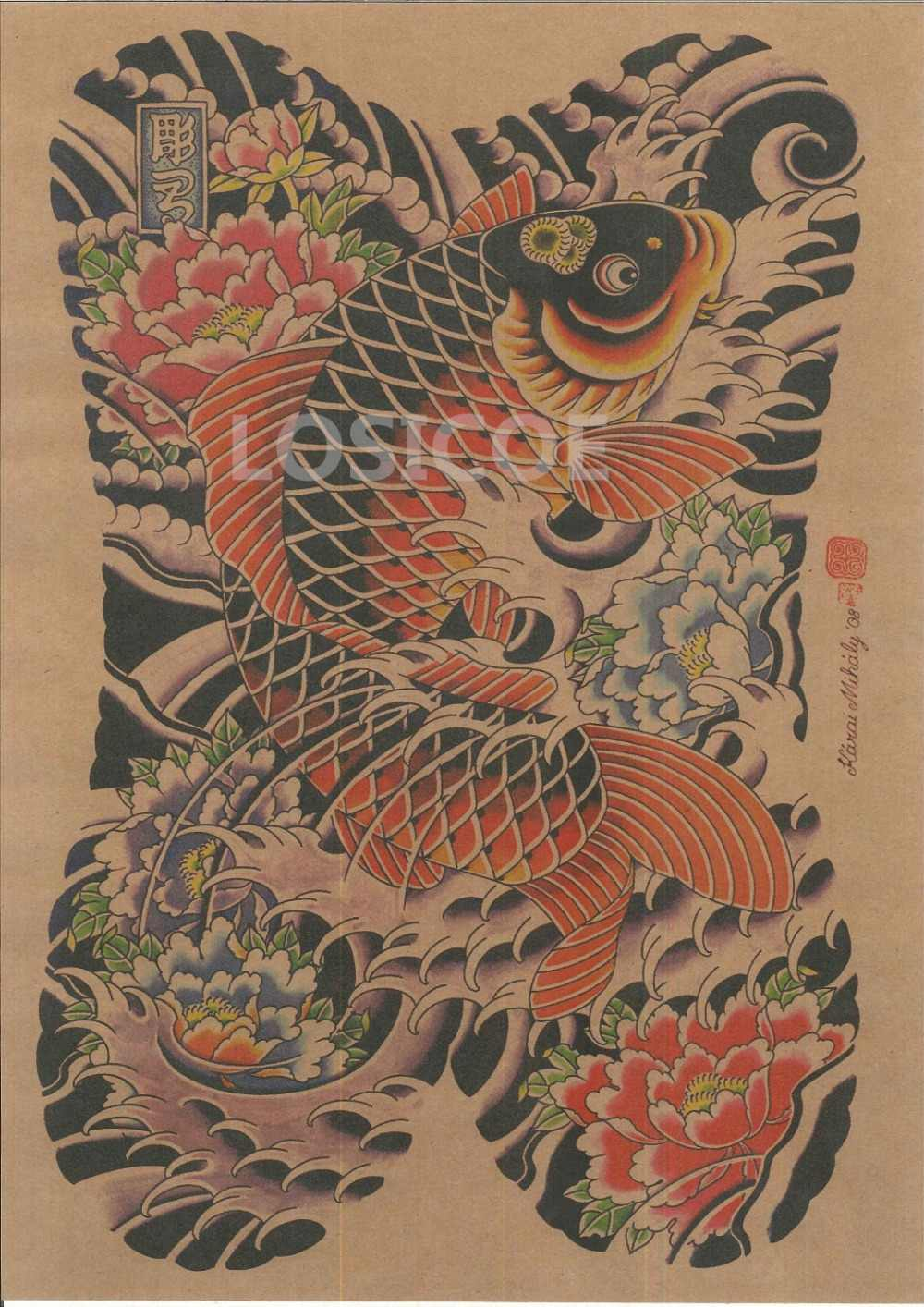 鯉日本浮世絵タトゥーヴィ歳 Shool ポスタークラフト紙絵の壁のステッカーアンティークコレクション家の装飾 30x42 センチメートル