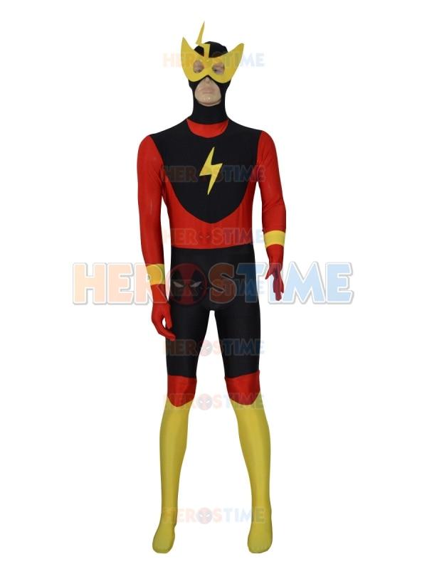 Nouvelle coutume le Costume de super héros Flash Lycra Spandex Halloween Cosplay Party Zentai Costume pour adulte/enfants le plus populaire