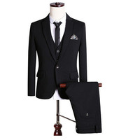 new Classic fashion black groom leisure suit custom made important formal clothing (coat + vest + The trousers + tie)