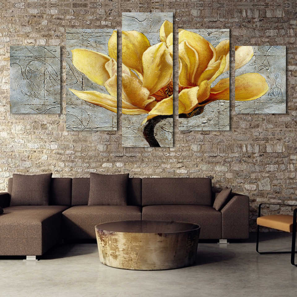 Modern Poster HD Printed Wall Art Decor For Living Room Pictures 5 Pieces Beautiful Gold Orchid Flower Painting On Canvas PENGDA