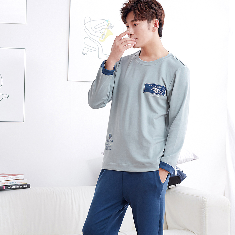 New Autumn&Winter 100%Cotton Long Sleeve Men Pajamas Sets Round Neck Home Wear Fashion Clothing For L-XXXL ...