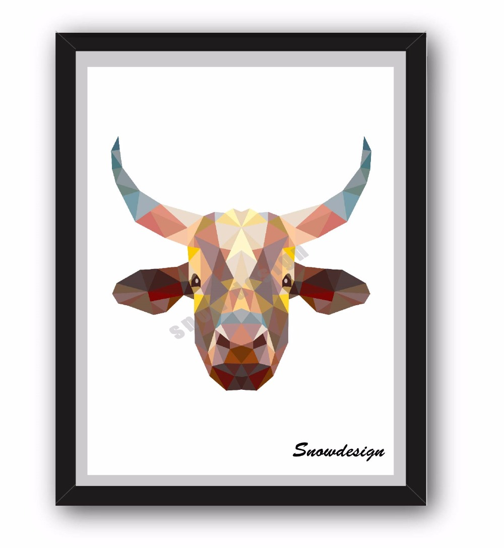 Low Poly Modern Geometric Coral Cow head Canvas painting wall Art ...