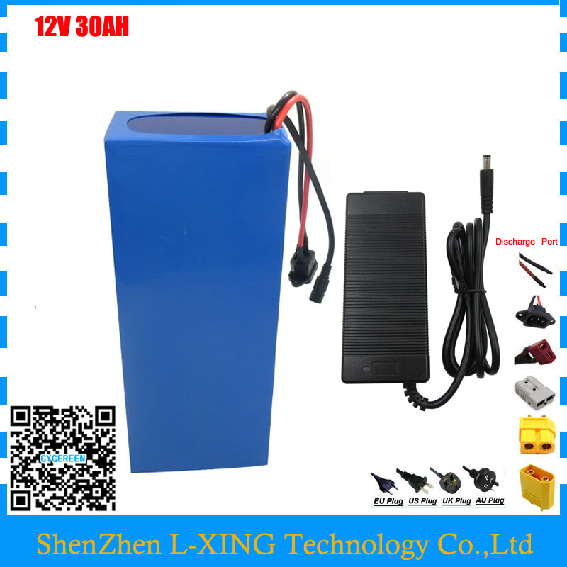 Free customs fee 350W 12V 30AH battery 12 V 30AH 30000MAH Lithium ion battery for 12V 3S Battery with 30A 12.6V 3A charger 30a 3s polymer lithium battery cell charger protection board pcb 18650 li ion lithium battery charging module 12 8 16v