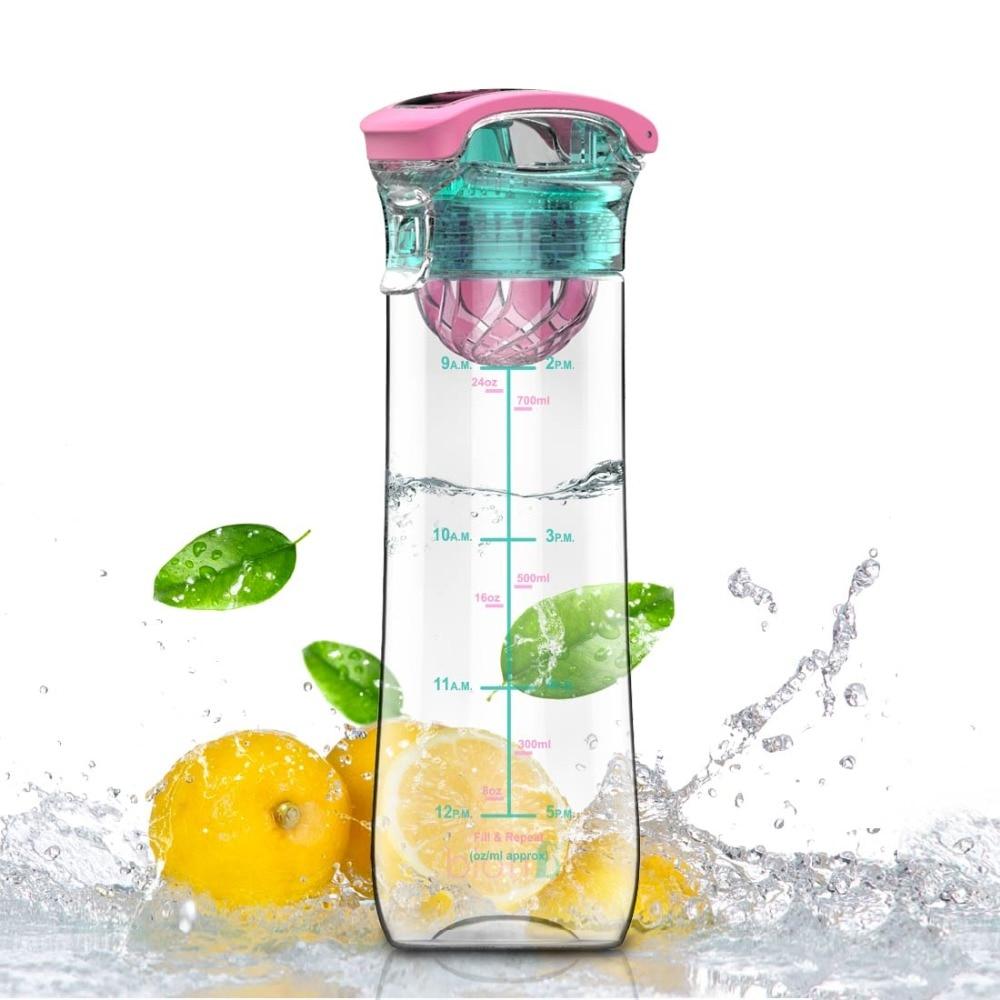 800ml Leakproof Flip-Top Fruit Infuser Plastic Water Bottle Tritan BPA Free Portable Handle Outdoor Camping Gym Christmas Gift
