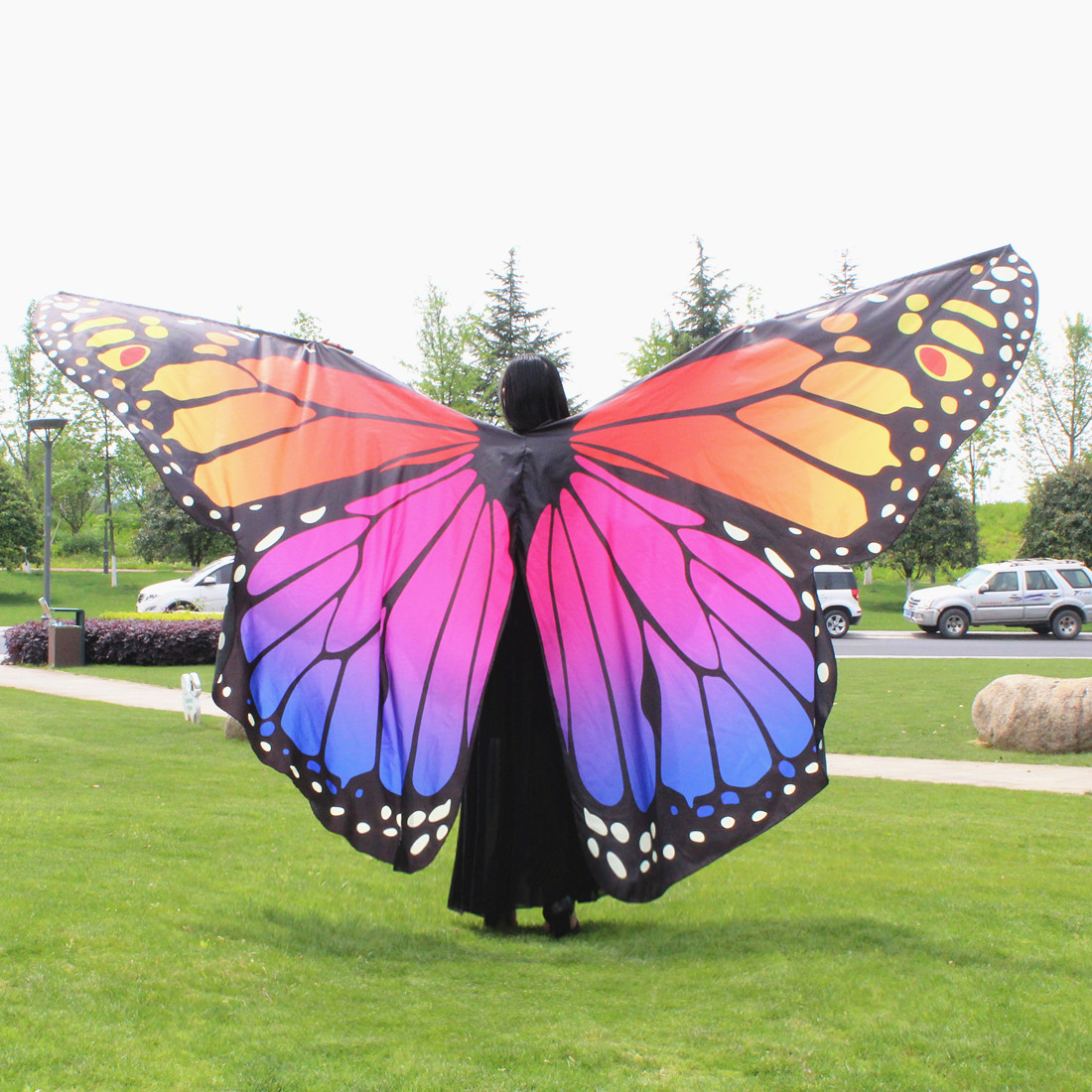 360 Degree Rotating Butterfly Shawl Decorated Women Butterfly Print Chiffon Beach ScarvesBelly Dance Butterfly Wings No Sticks