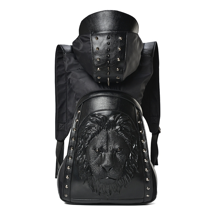 Large Capacity Men Restore 3D Cool Lion backpack gothic embossing bag leather 3D Shoulder Bag with Hood Travel Backpack mco large capacity men restore 3d cool lion backpack gothic embossing bag leather shoulder bag with hood cap travel backpack